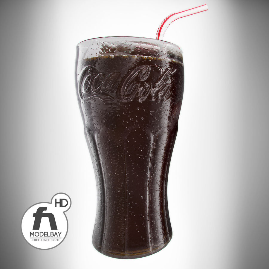 Detailed Coca Cola Bottle and Glass royalty-free 3d model - Preview no. 6