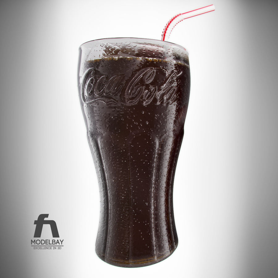 Detailed Coca Cola Bottle and Glass royalty-free 3d model - Preview no. 5