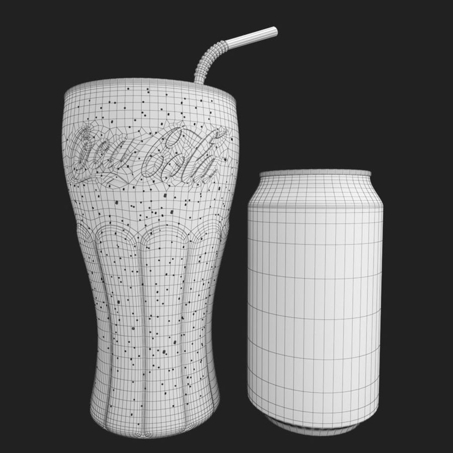 Detailed Coca Cola Bottle and Glass royalty-free 3d model - Preview no. 11