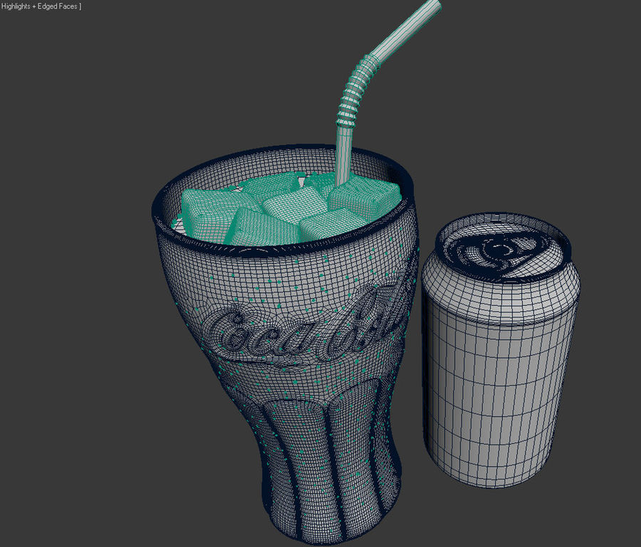Detailed Coca Cola Bottle and Glass royalty-free 3d model - Preview no. 8
