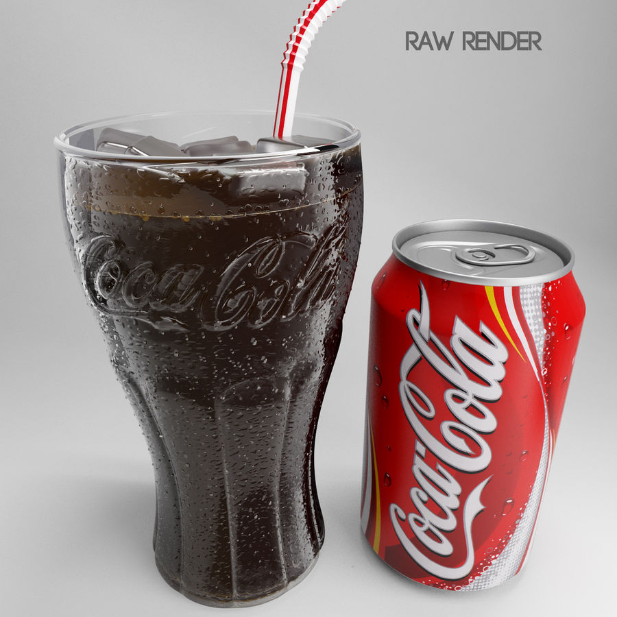 Detailed Coca Cola Bottle and Glass royalty-free 3d model - Preview no. 4