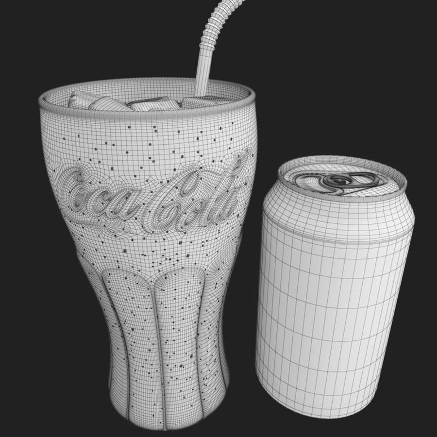 Detailed Coca Cola Bottle and Glass royalty-free 3d model - Preview no. 12