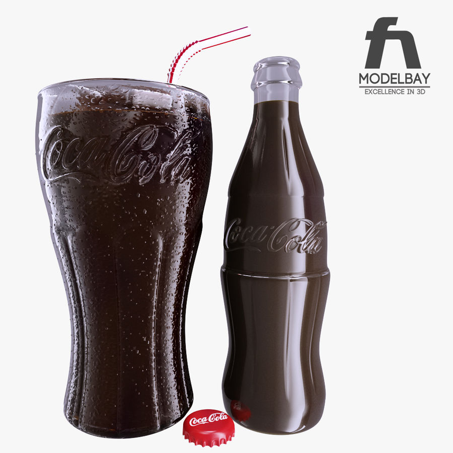 Detailed Coca Cola Bottle and Glass royalty-free 3d model - Preview no. 2