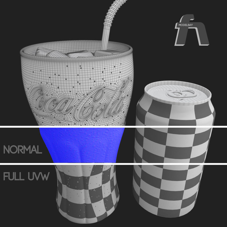 Detailed Coca Cola Bottle and Glass royalty-free 3d model - Preview no. 13