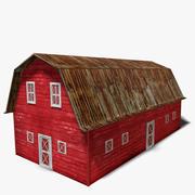 Vecchio fienile rosso 3d model