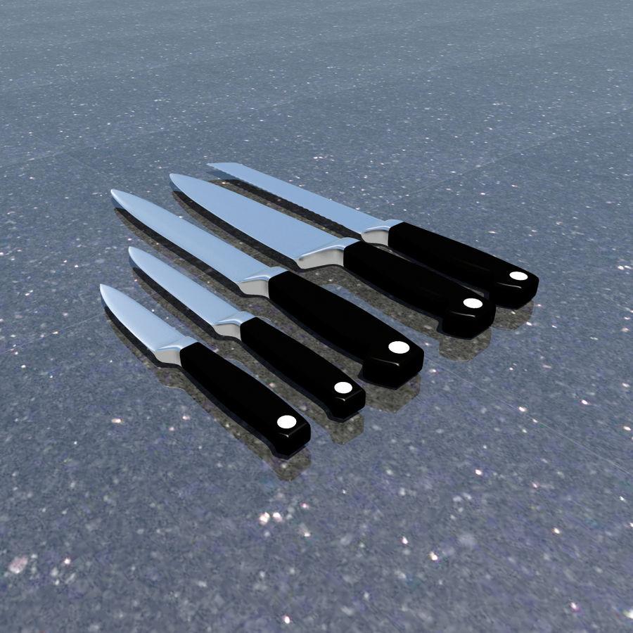 Kitchen Knife Set 1 royalty-free 3d model - Preview no. 2