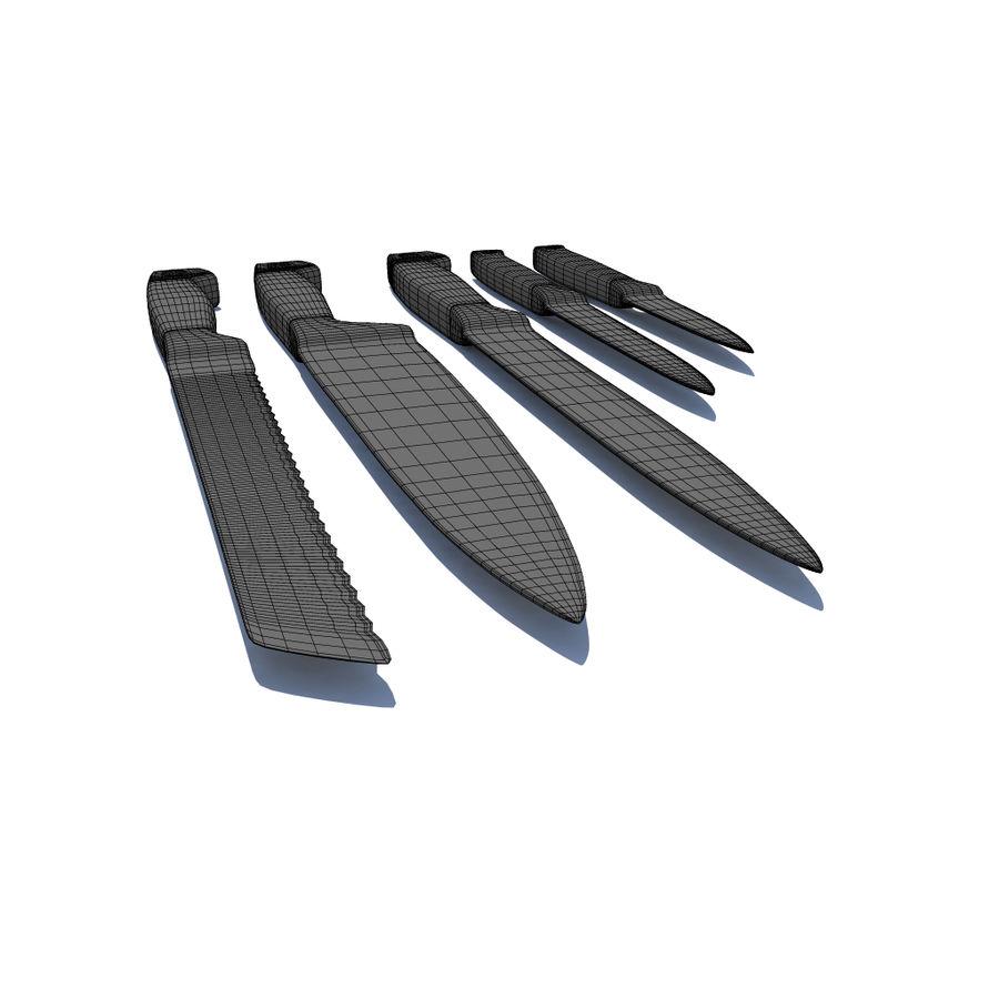 Kitchen Knife Set 1 royalty-free 3d model - Preview no. 4