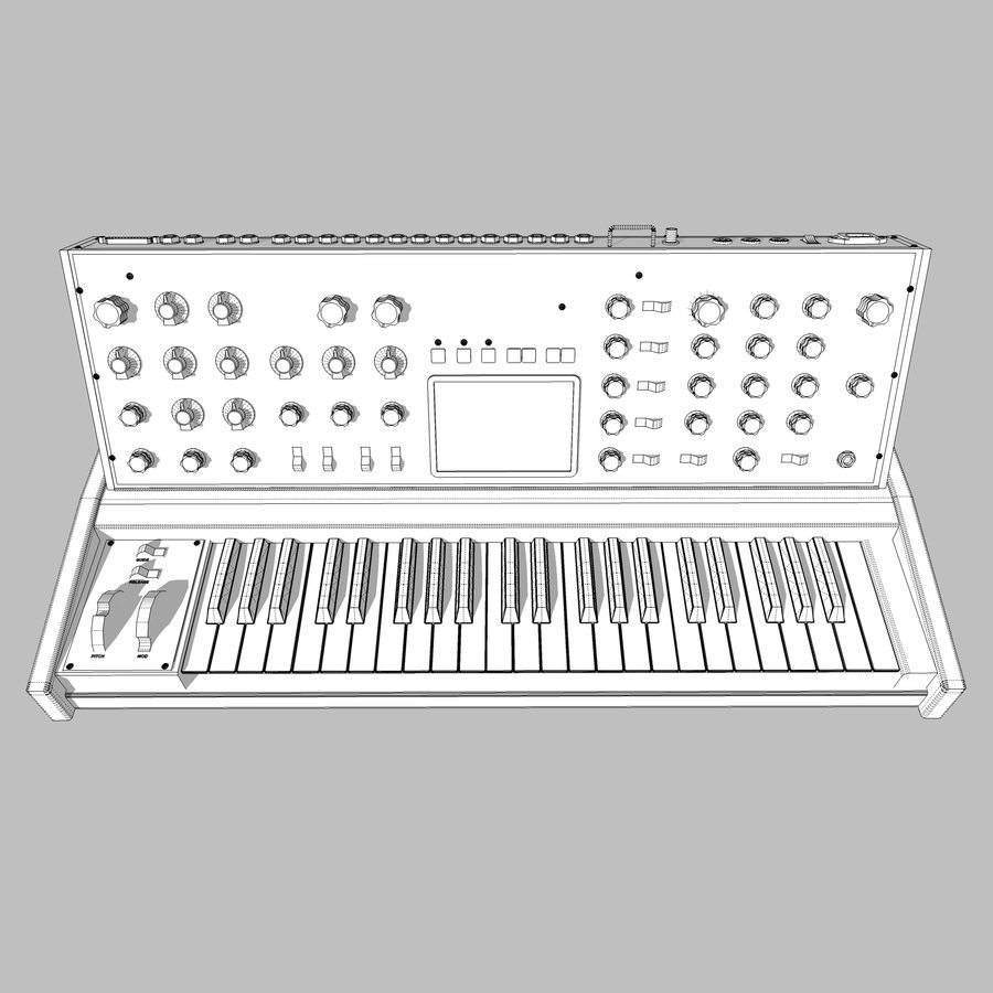 Moog Voyager: Synthesizer Keyboard: C4D Model royalty-free 3d model - Preview no. 19