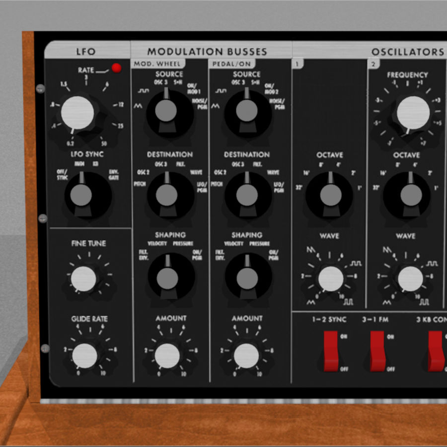 Moog Voyager: Synthesizer Keyboard: C4D Model royalty-free 3d model - Preview no. 10