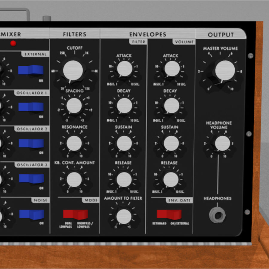 Moog Voyager: Synthesizer Keyboard: C4D Model royalty-free 3d model - Preview no. 12