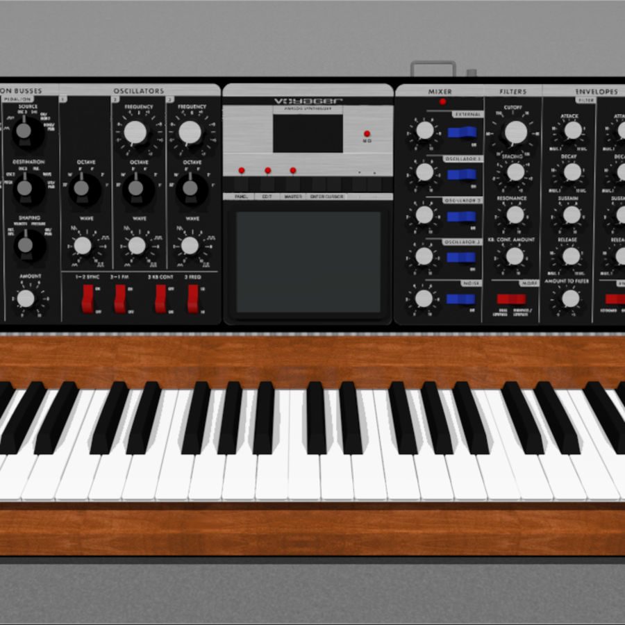 Moog Voyager: Synthesizer Keyboard: C4D Model royalty-free 3d model - Preview no. 8