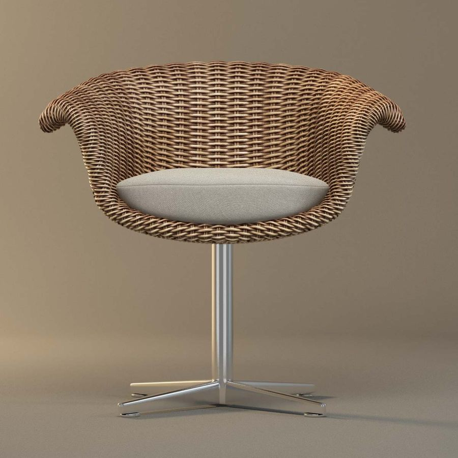 Rattan Chair royalty-free 3d model - Preview no. 7