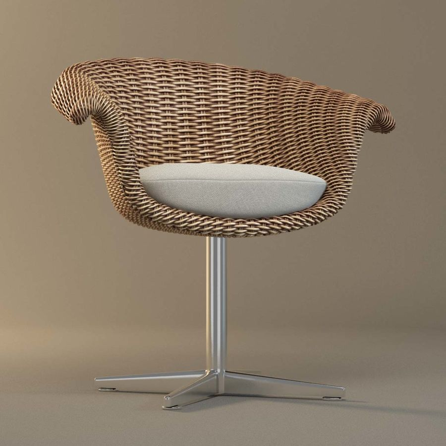 Rattan Chair royalty-free 3d model - Preview no. 2