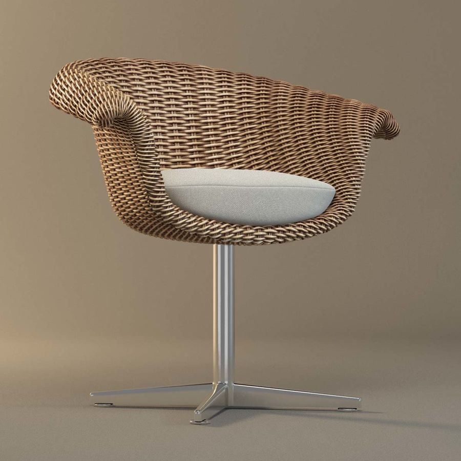 Rattan Chair royalty-free 3d model - Preview no. 3