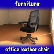 黑色皮革办公椅 3d model