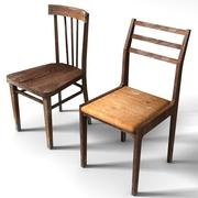 Old Low Poly Chairs 3d model