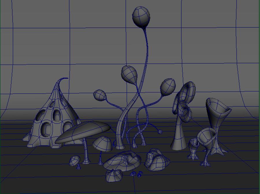 Alien plants I royalty-free 3d model - Preview no. 3
