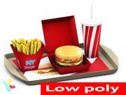 Burger Mahlzeit 3d model