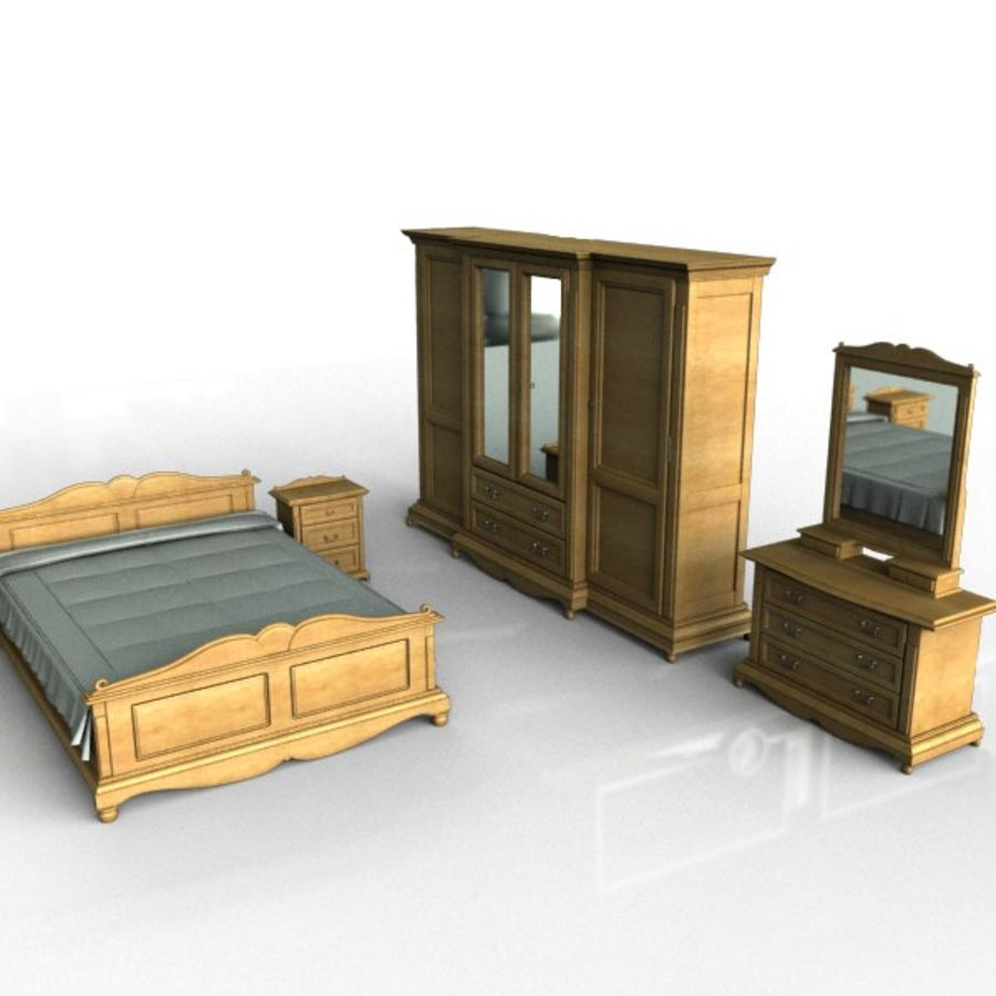 Bedroom Set royalty-free 3d model - Preview no. 1