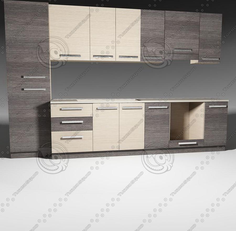 Meble kuchenne z akcesoriami model 02 royalty-free 3d model - Preview no. 3