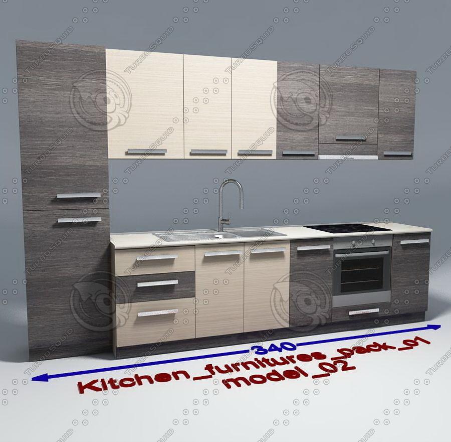 Meble kuchenne z akcesoriami model 02 royalty-free 3d model - Preview no. 1