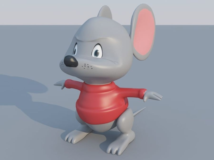 Souris de dessin animé royalty-free 3d model - Preview no. 5