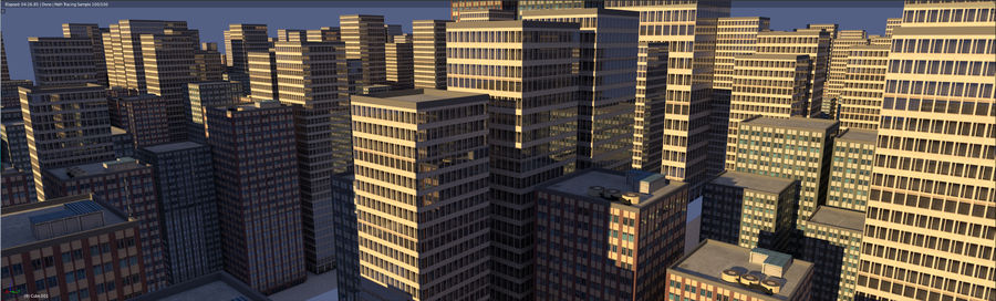 3 building city royalty-free 3d model - Preview no. 2