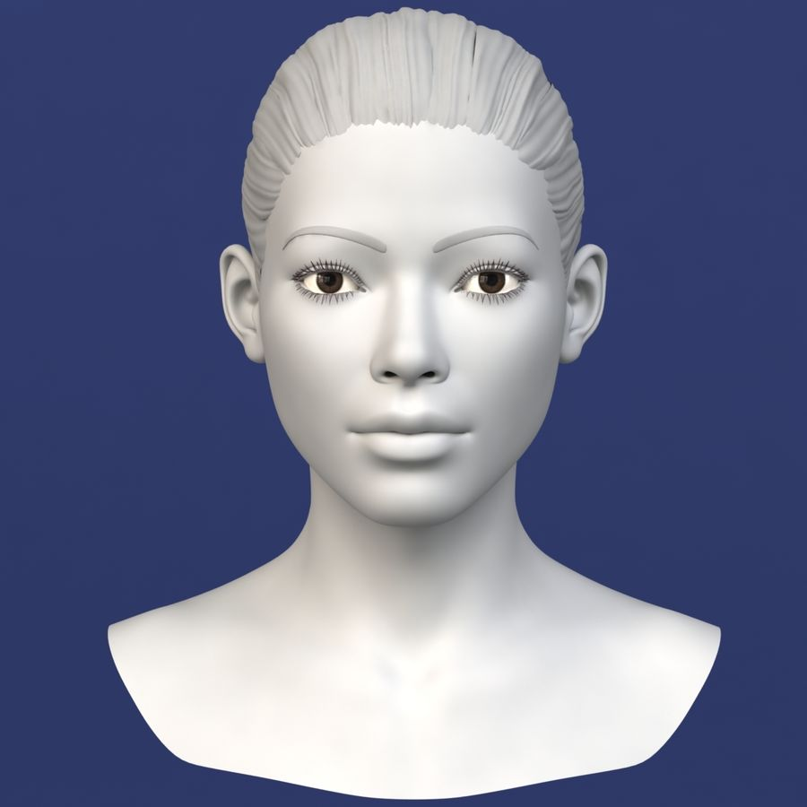 Asian Female Head royalty-free 3d model - Preview no. 1