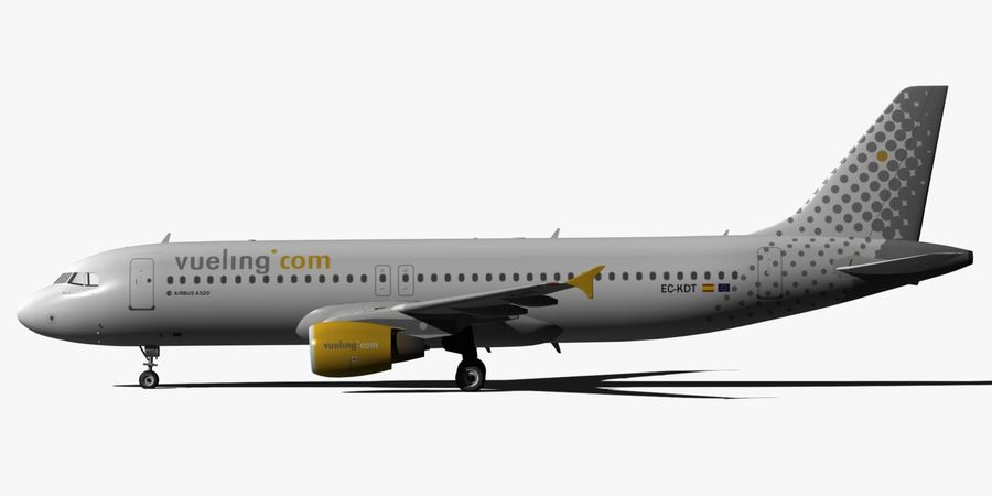 AIRBUS A320 VUELING royalty-free 3d model - Preview no. 4