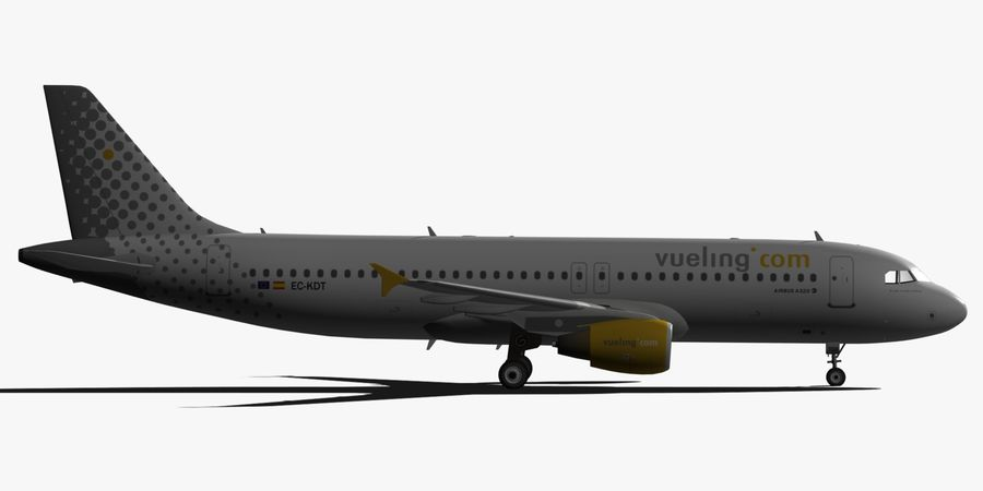 AIRBUS A320 VUELING royalty-free 3d model - Preview no. 3