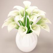 Calla Bouquet - Florero Blanco modelo 3d