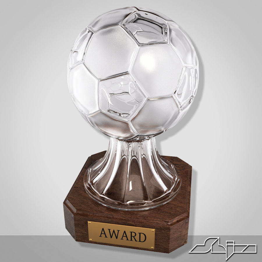 Crystal Soccer Award Trophy royalty-free 3d model - Preview no. 2