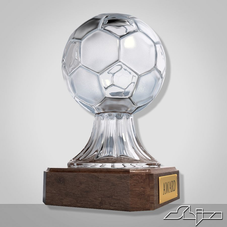 Crystal Soccer Award Trophy royalty-free 3d model - Preview no. 3