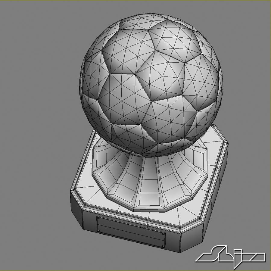 Crystal Soccer Award Trophy royalty-free 3d model - Preview no. 5