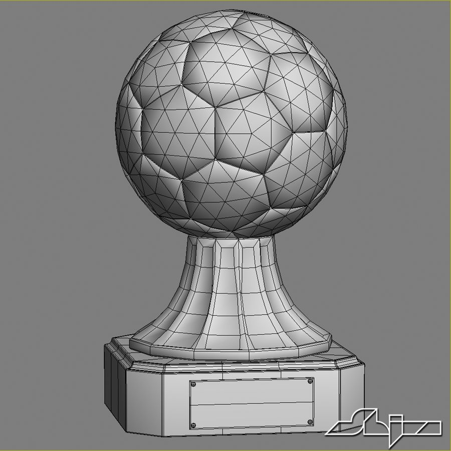 Crystal Soccer Award Trophy royalty-free 3d model - Preview no. 4