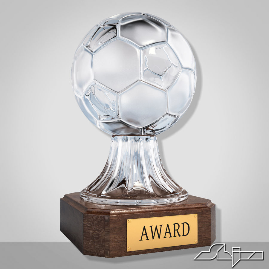 Crystal Soccer Award Trophy royalty-free 3d model - Preview no. 1