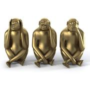 Monkey Statues Set sculpture animal modern 3d model