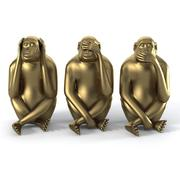 Monkey Statues Set scultura animale moderna 3d model