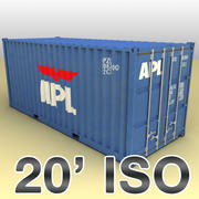 ISO shipping container 20 feet 3d model