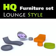 Set med 7 eleganta loungemöbler 3d model