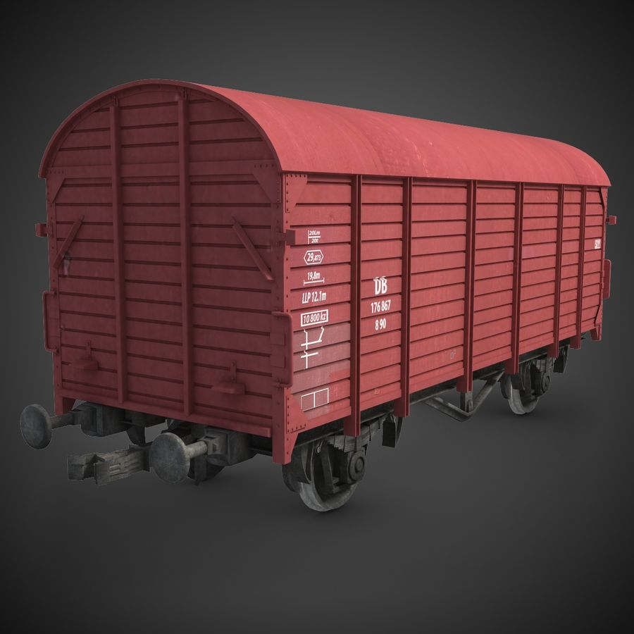 Cargo Wagon 7 royalty-free 3d model - Preview no. 2