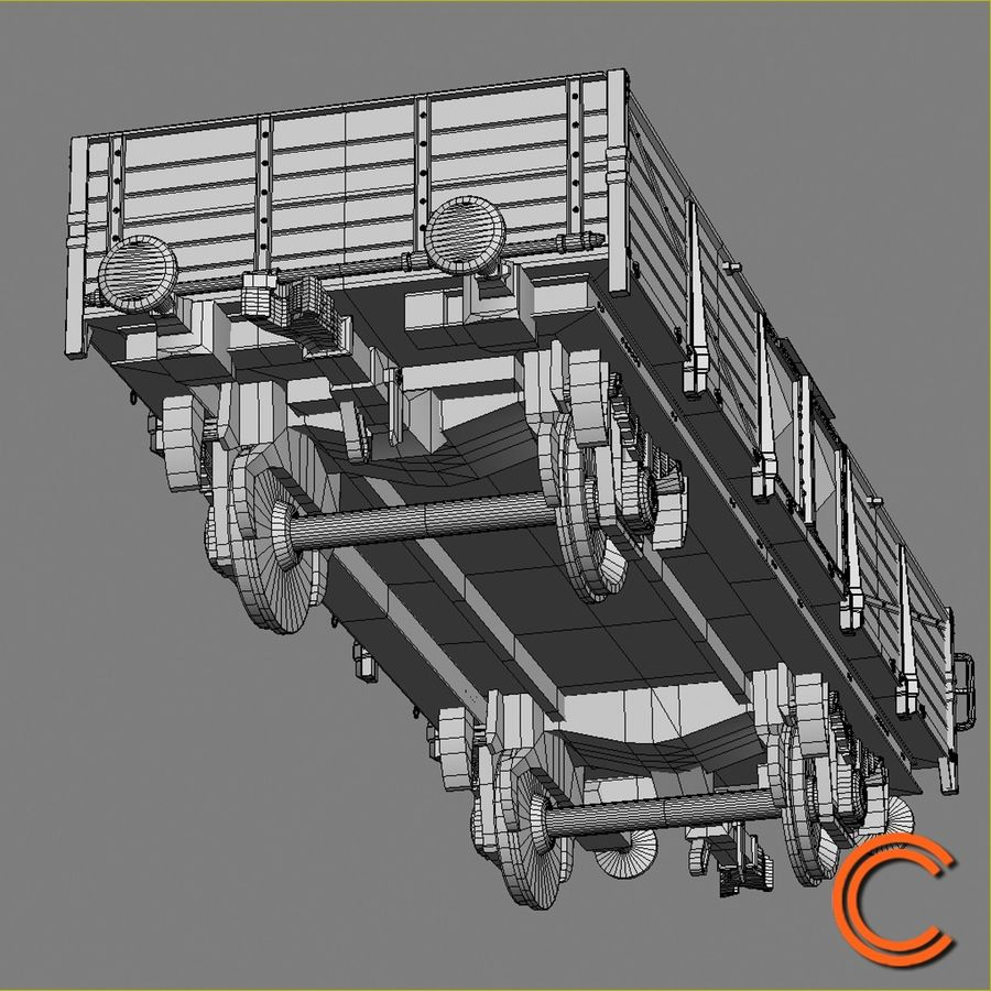 Cargo Wagon 6 royalty-free 3d model - Preview no. 9