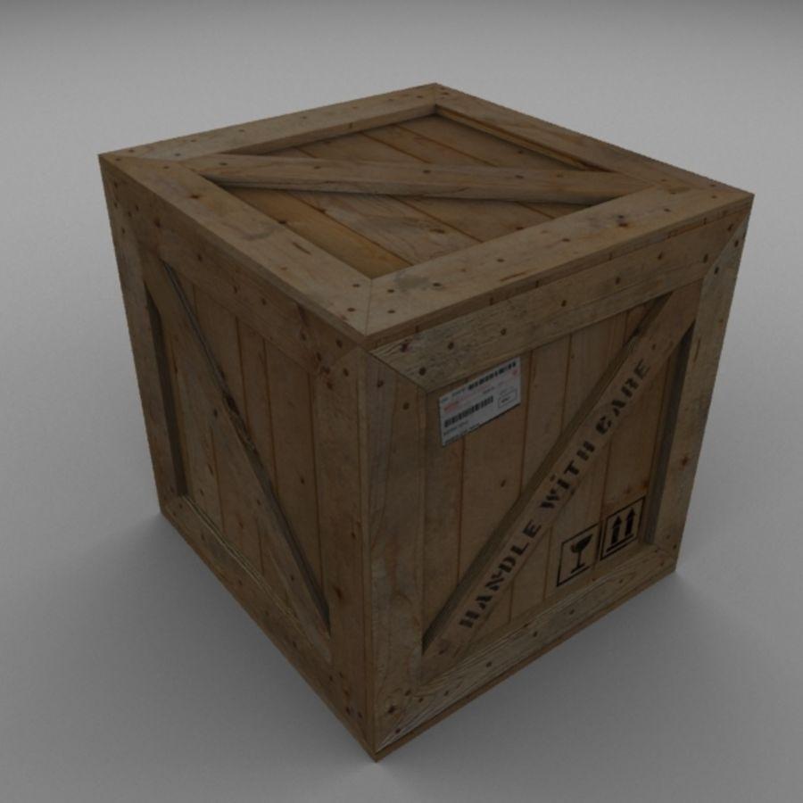 Houten doos 001 royalty-free 3d model - Preview no. 3