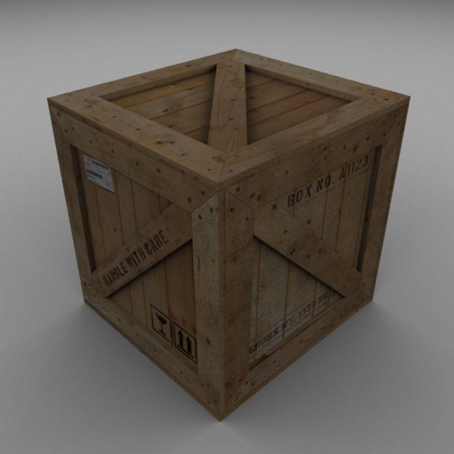 Houten doos 001 royalty-free 3d model - Preview no. 1
