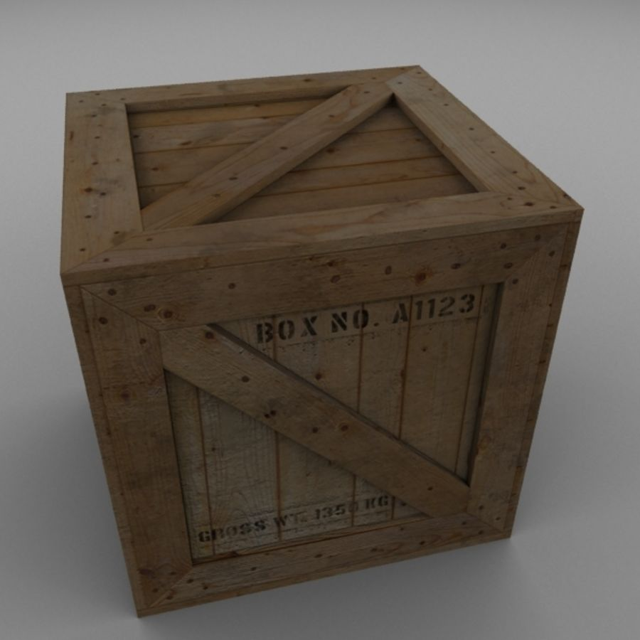 Houten doos 001 royalty-free 3d model - Preview no. 7