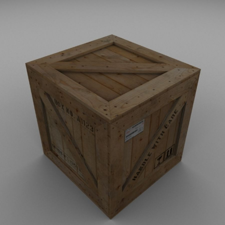 Houten doos 001 royalty-free 3d model - Preview no. 6