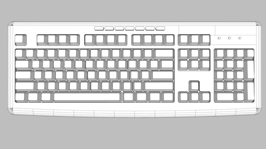 Computer Keyboard: Black royalty-free 3d model - Preview no. 11