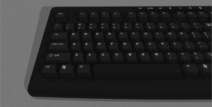 Computer Keyboard: Black royalty-free 3d model - Preview no. 7