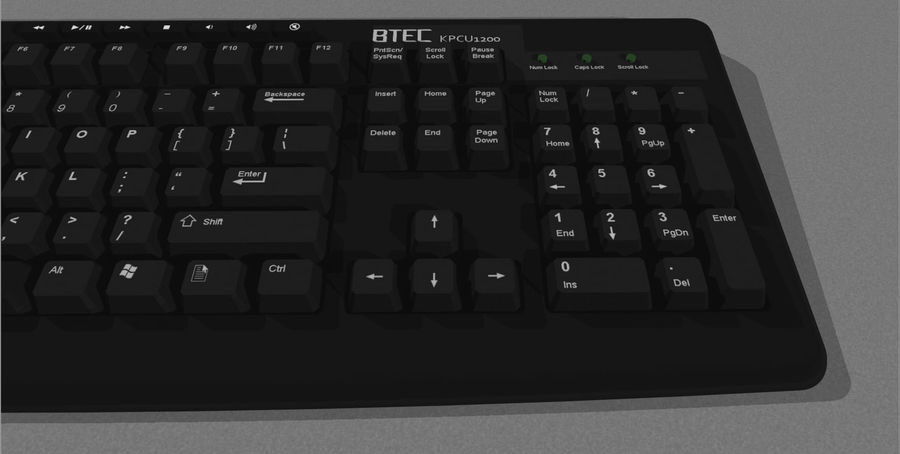 Computer Keyboard: Black royalty-free 3d model - Preview no. 8