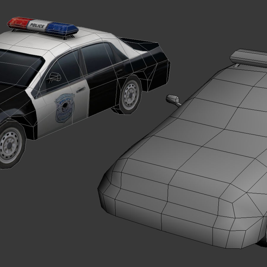 Low Poly Polizeiauto royalty-free 3d model - Preview no. 2